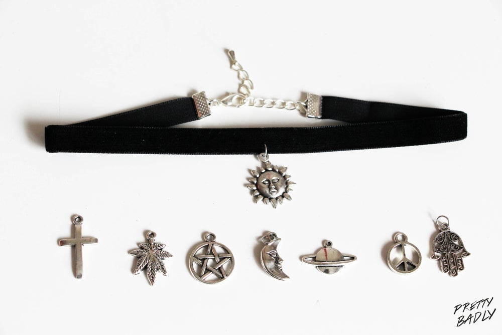Image of Velvet Choker with Charm Moon, Sun, Pentagram, Planet, Fatima Hand, Cannabis, Cross, Peace