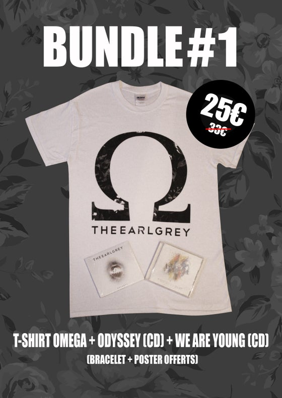 Image of BUNDLE #1 : OMEGA T-SHIRT + ODYSSEY (CD) + WE ARE YOUNG (CD) (+ FREE POSTER + FREE WRISTBAND)
