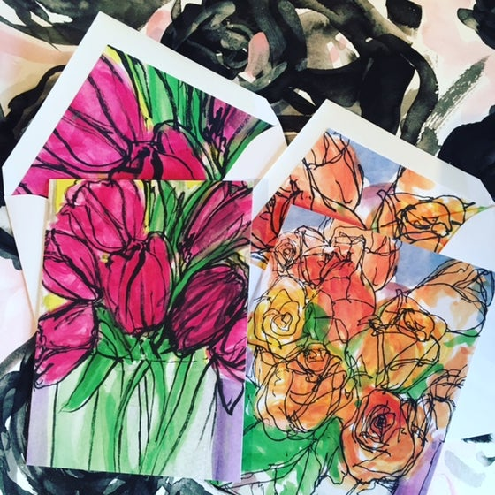 Image of Watercolor Flower Note Cards