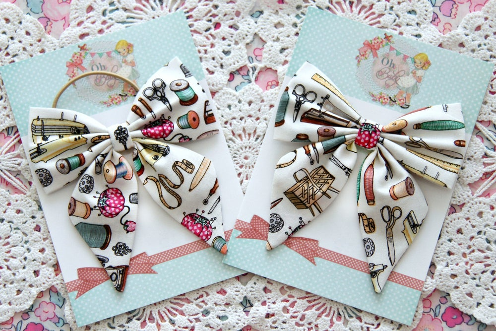 Image of I'm SEW Happy ~ Tails Bow CLIP or TIE