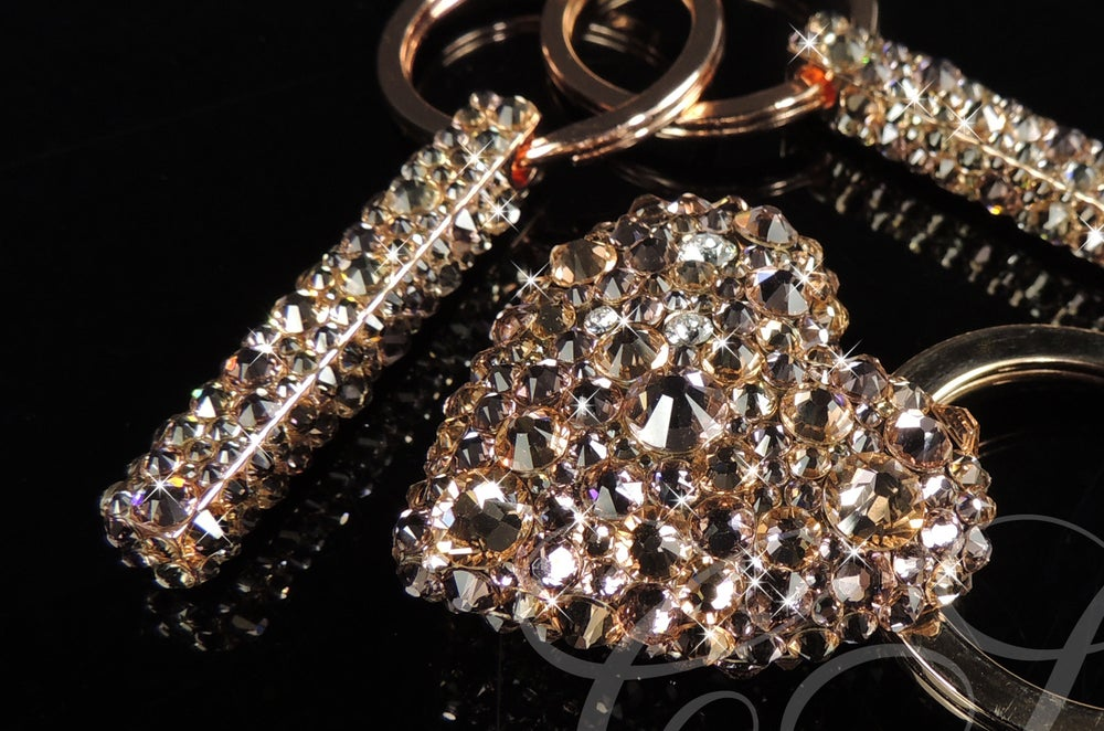 Image of Luxury Rose Gold Heart Keyring with Crystals by Swarovski®