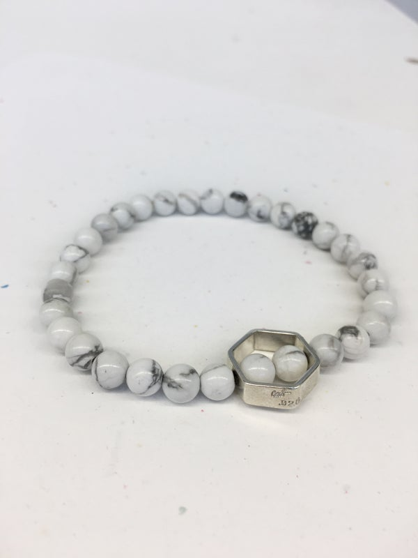 Image of DblHex Beaded Bracelet in Howlite - 6mm
