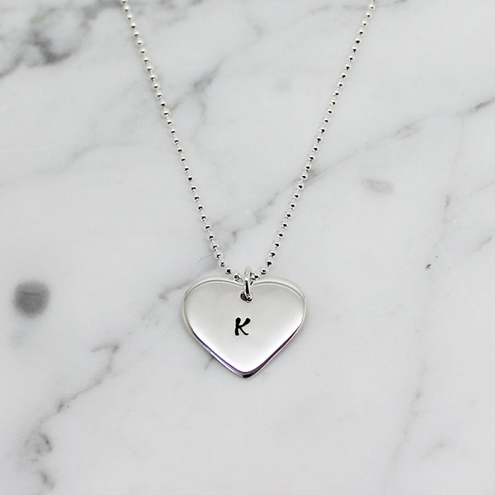 Image of Personalised small love heart sterling silver necklace