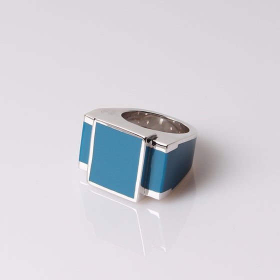 Image of Bague One Argent Blue