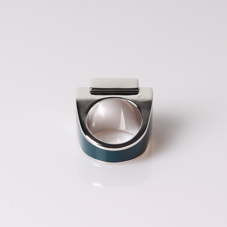 Image of Bague One Argent Romantic green