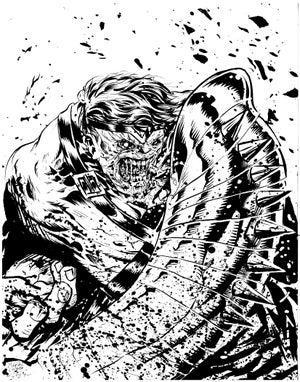 Image of world war hulk original inked piece