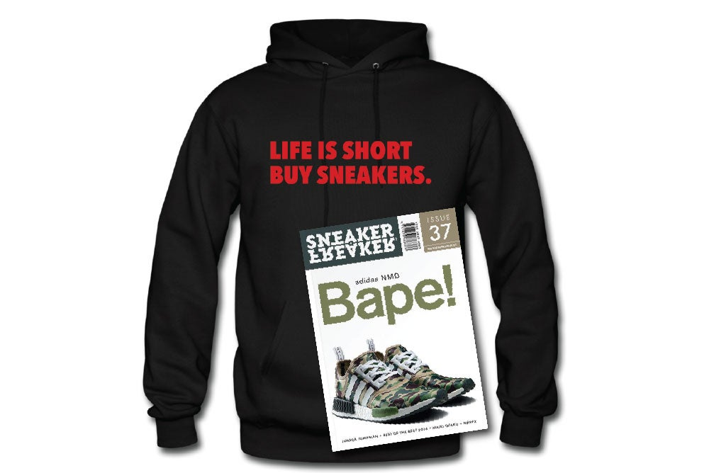 Image of HOODIE Black/Red Life is Short Buy Sneakers