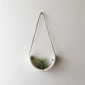 Image of Small White Earthenware Hanging Air Plant Cradle