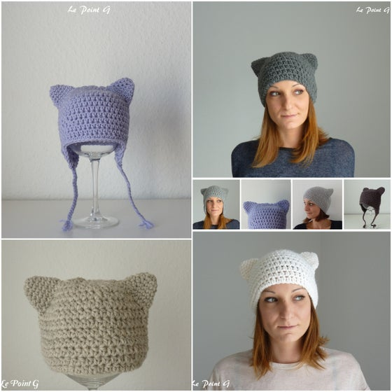 Image of Patron au crochet Bonnet Chat (6 tailles)