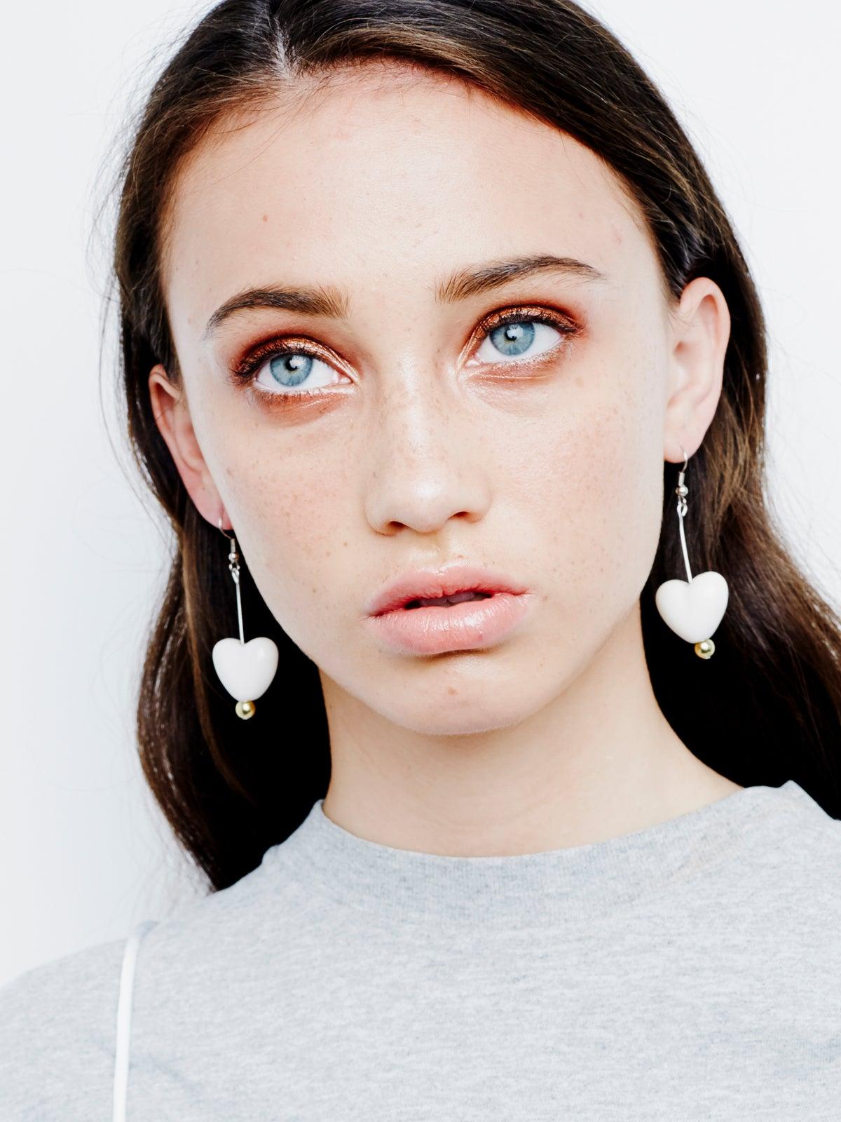 Image of Ceramic Heart Drop Earrings