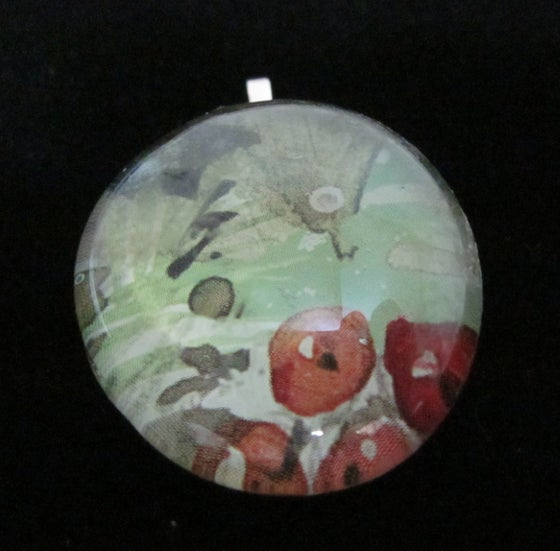 Image of Abstract and Red - Upcycled Glass Cabochon Pendant