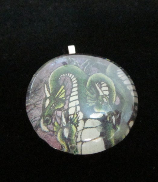 Image of Three-Headed Green Dragon - Upcycled Glass Cabochon Pendant
