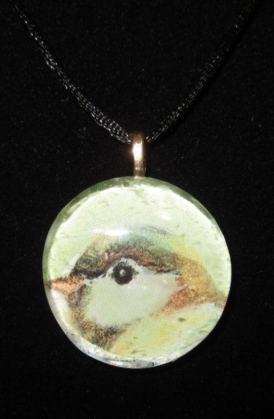 Image of Sweet Bird - Upcycled Glass Cabochon Pendant