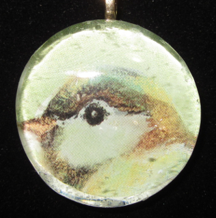 Image of Sweet Bird - Upcycled Glass Cabochon Pendant