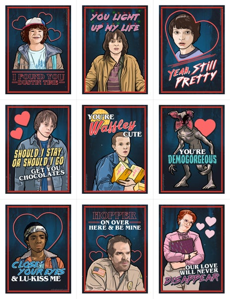 Image of Stranger Things Valentine's Day Card Pack (Please Read Description!)