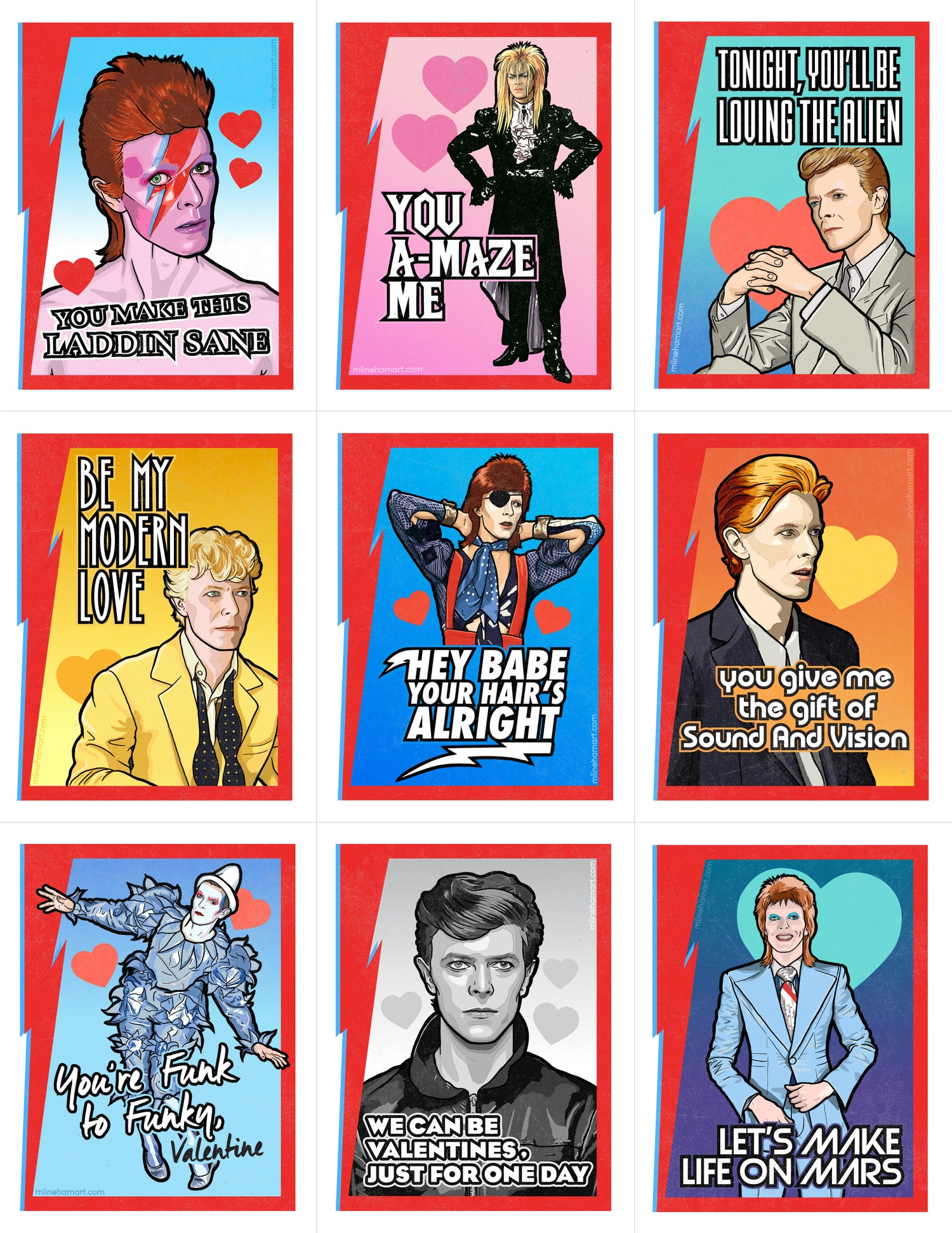 Image of Bowie Valentine's Day Card Pack (2017)