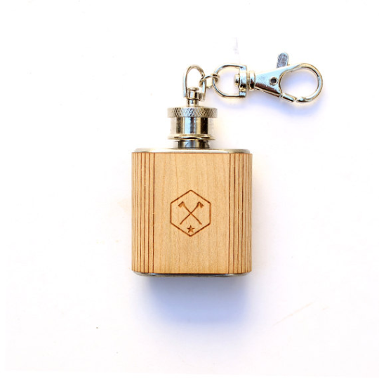 Image of TIMBER Wood Skin 2oz. Keychain Mini Flask