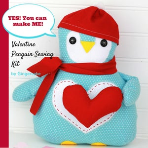 Image of NEW!  Valentine Penguin Sewing Kit 2017