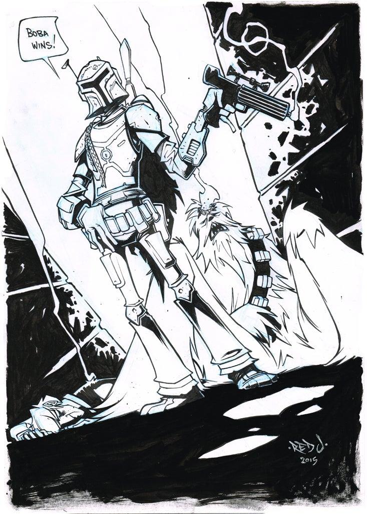 Image of ORIGINAL ART Star Wars Boba Fett Wins