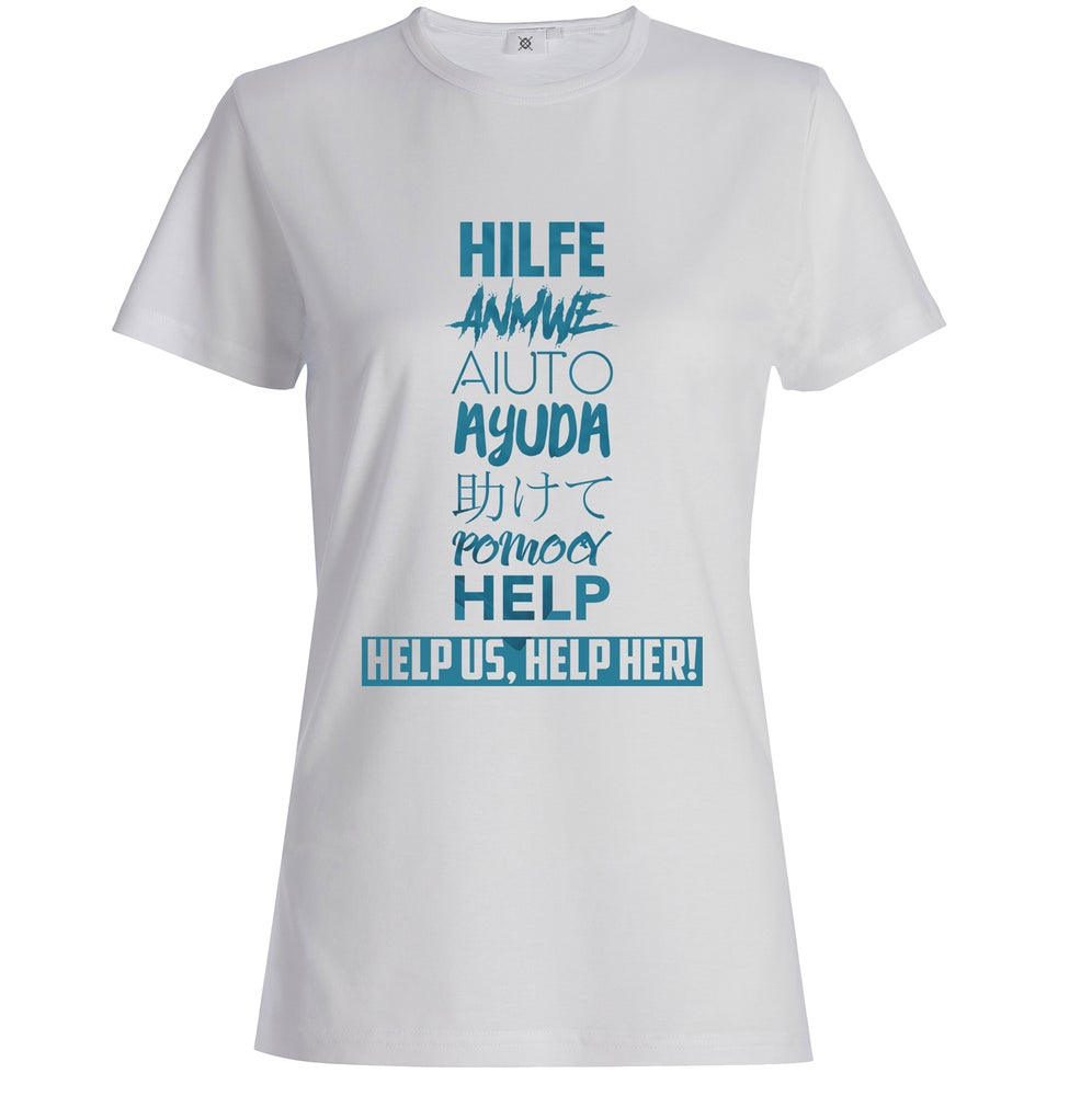 Image of HELP in Every Language T-shirt Blue
