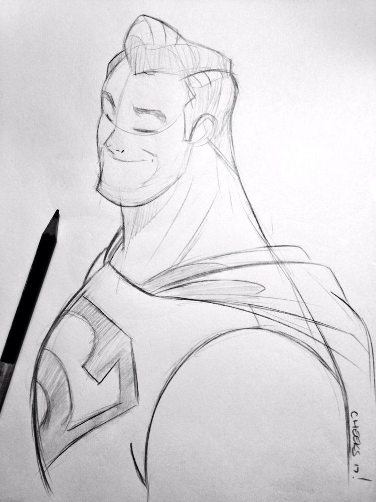 Image of Superman bust sketch.