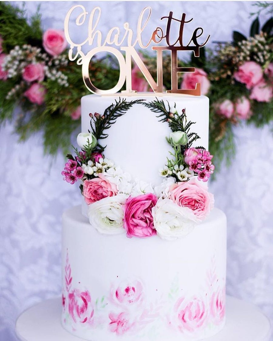Image of Name & Capital Age Cake Topper