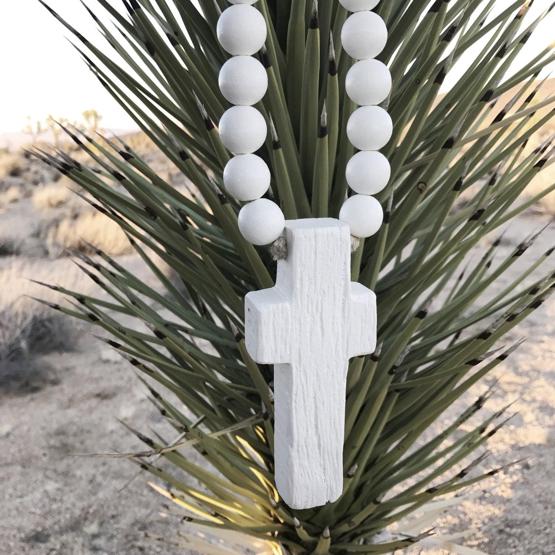 Image of RECLAIMED MINI LOVE BEADS - WHITE CROSS