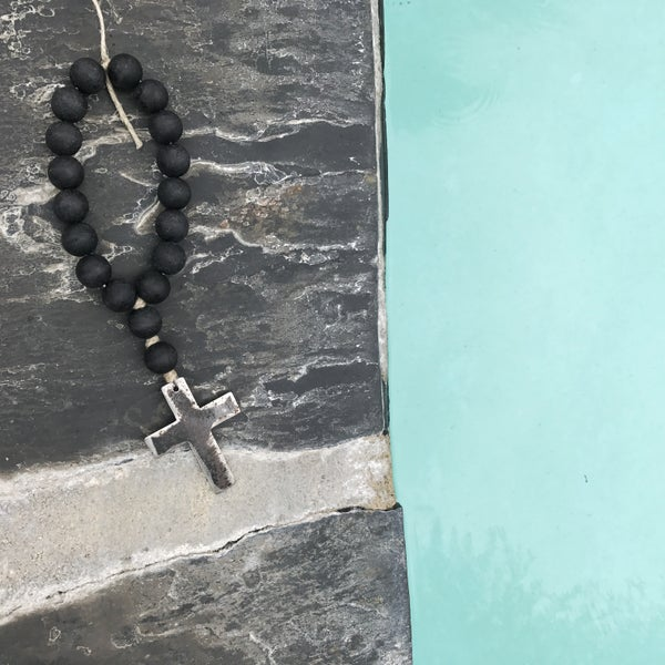 Image of Mini Style Love Beads - Modern Black Beads with Cross-1