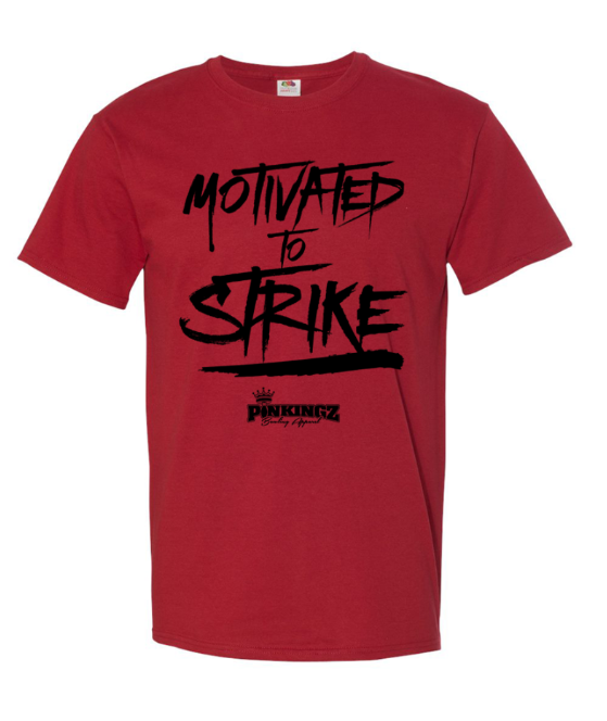 Image of Pinkingz Bowling T-Shirt | Motivated to Strike but Hoping to Carry! || Crimson Red