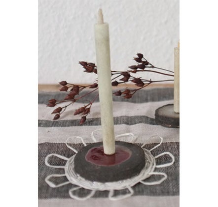 Image of Black clay candle holder with woven circle mat set