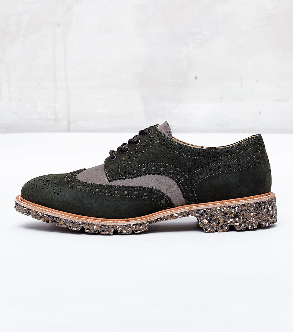Image of Handmade Shoes | 702 Derby Wingtip Olive Grey Edition