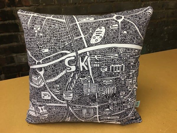 Image of Stockport Doodle Map Cushion