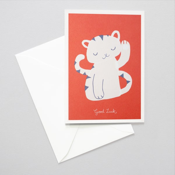 Image of Lucky Cat Card / Waving cat illustration / Good Luck