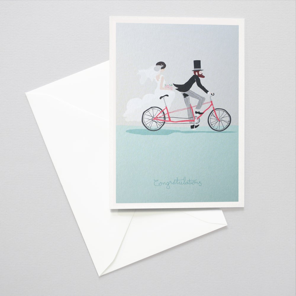 Image of Wedding card - Tandem wedding card / Illustrated / FSC Certified paper