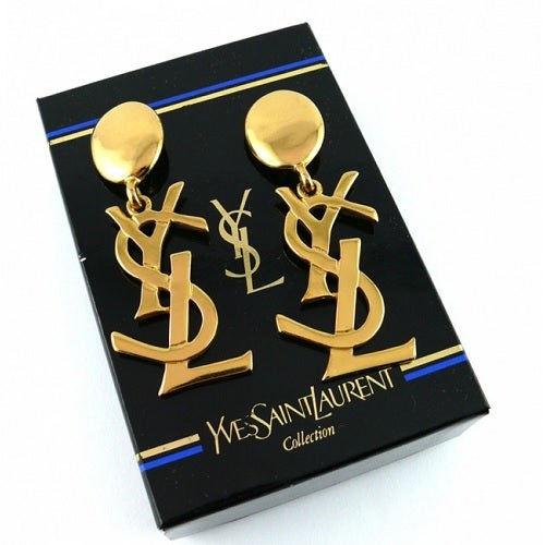Image of SOLD OUT AUTH HUGE ARRIVING SOON Yves Saint Laurent Vintage YSL Logo Earrings -Sex and The City
