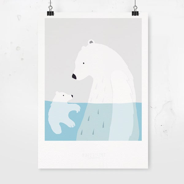 Image of Art Print - Bear Pool / Affordable Art Prints / Archival Quality / Kids' room decoration