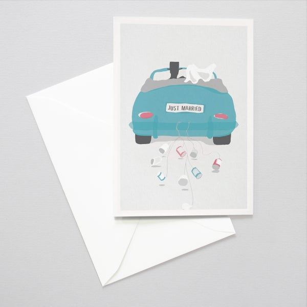 Image of Just Married card - Wedding car / Congratulations just married / Tin cans