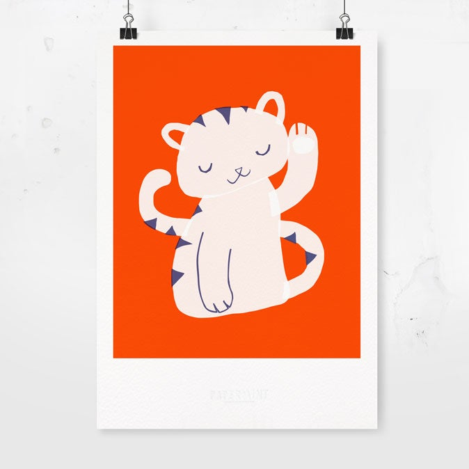 Image of Art Print - Lucky Cat / Affordable Art Prints / Archival Quality / Kids' room decoration