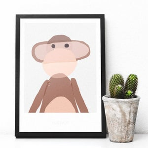 Image of Art Print - Monkey / Affordable Art Prints / Archival Quality / Kids' room decoration