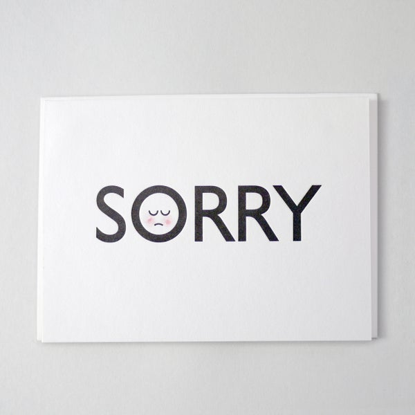 Image of he's Sorry / she's sorry - Letterpress Card (hand finished)