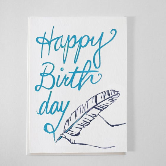 Image of Calligraphy thank Birthday Card - Letterpress handwriting / Quill Birthday Card