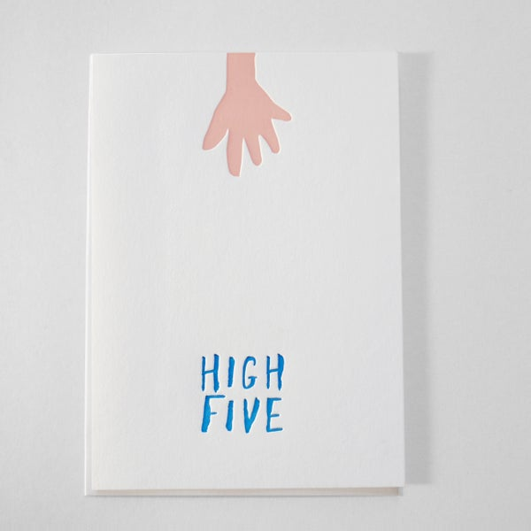 Image of High Five illustration card - Letterpress / Well done card / Congratulations  high five card