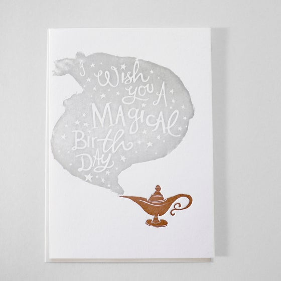Image of Wish you a Magical Birthday Letterpress card - Magic lamp / Three wishes granted