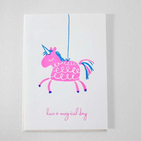 Image of Piñata Birthday Card - Letterpress birthday card / Princesses Birthday card