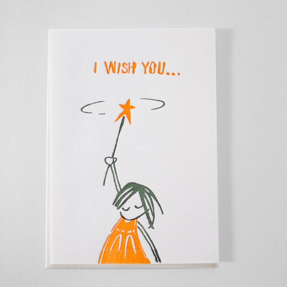 Image of Letterpress Birthday card - I wish you / Good luck card / Best wishes card in English or Deutsch