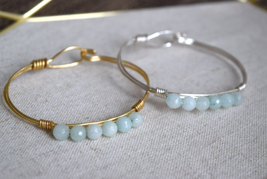 Image of Powder Blue Agate Clasp Bangle