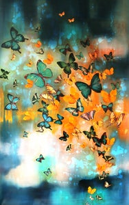 "Image of Lily Greenwood Giclée Print - Butterflies on Prussian Blue/Turquoise/Gold - 10""x 16"" (Open Edition)"
