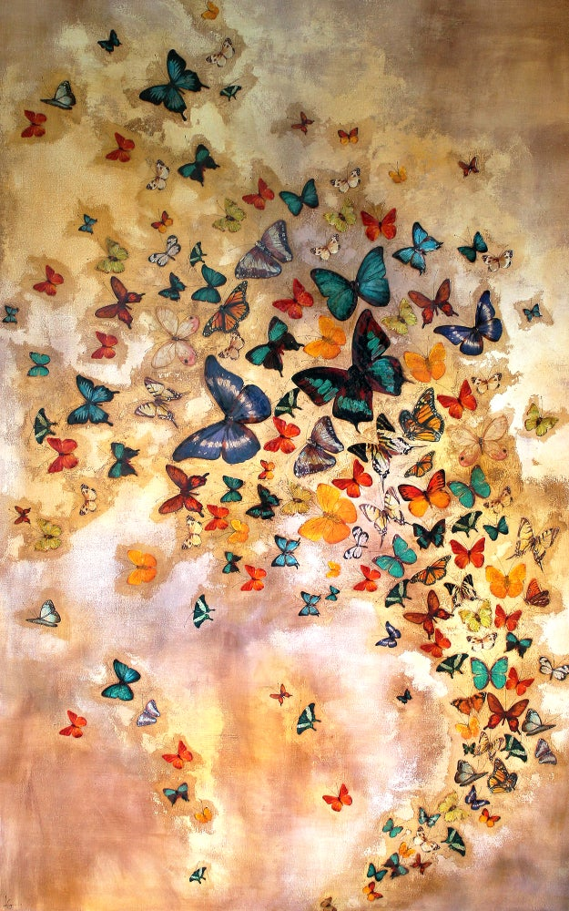 "Image of Lily Greenwood Giclée Print - Butterflies on Ochre - 10""x 16"" (Open Edition)"