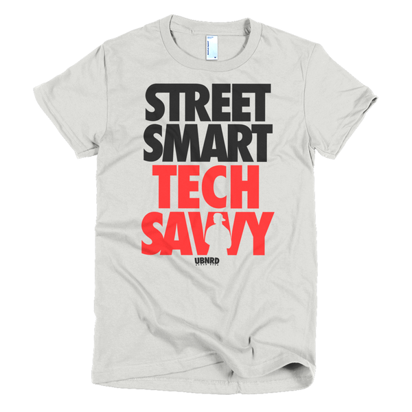 Image of The ladies Hybrid tee by Urban Nerd ™ in SILVER/RED