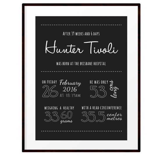 Image of Personalised monochrome birth details print